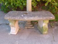 Fantastic Vintage Cast Stone Curved Garden Bench With Scallop Shell Detail Legs