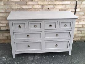 CHEST OF 8 DRAWERS MERCHANTS CHEST PAINTED GREY SOLID WOOD