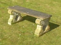 Vintage Cast Stone Garden Bench With Eagle Clawed Feet Supports 115cm long