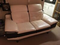 2 seater and 3 seater leather sofa - cream and brown