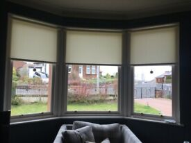 3 Roller Blinds for Bay Window
