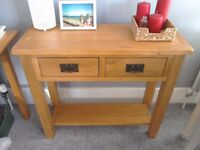 Solid oak hall table in excellent condition as nearly new.