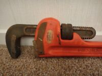 Rigid 24 inch heavy duty pipe wrench stilson in great condition