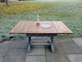 Antique/vintage draw leaf, extendable dining table. Rustic shabby chic/farmhouse/refectory.
