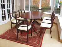 IN VERY GOOD CONDITION – EXTENDING SCALLOP EDGED DINING TABLE & 8 NEWLY UPHOLSTERED CHAIRS