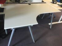 Large IKEA White Office Desk with Left or Right Hand Return Adjustable Height USED