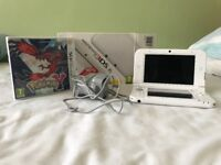 White Nintendo 3DS Xl with manuals, stylus, charger, boxing and Pokemon Y 3DS Game