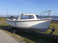 Inshore and Loch Fishing boat with trailer