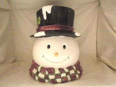 SNOWMAN HEAD COOKIE JAR WITH TOP HAT AND SCARF