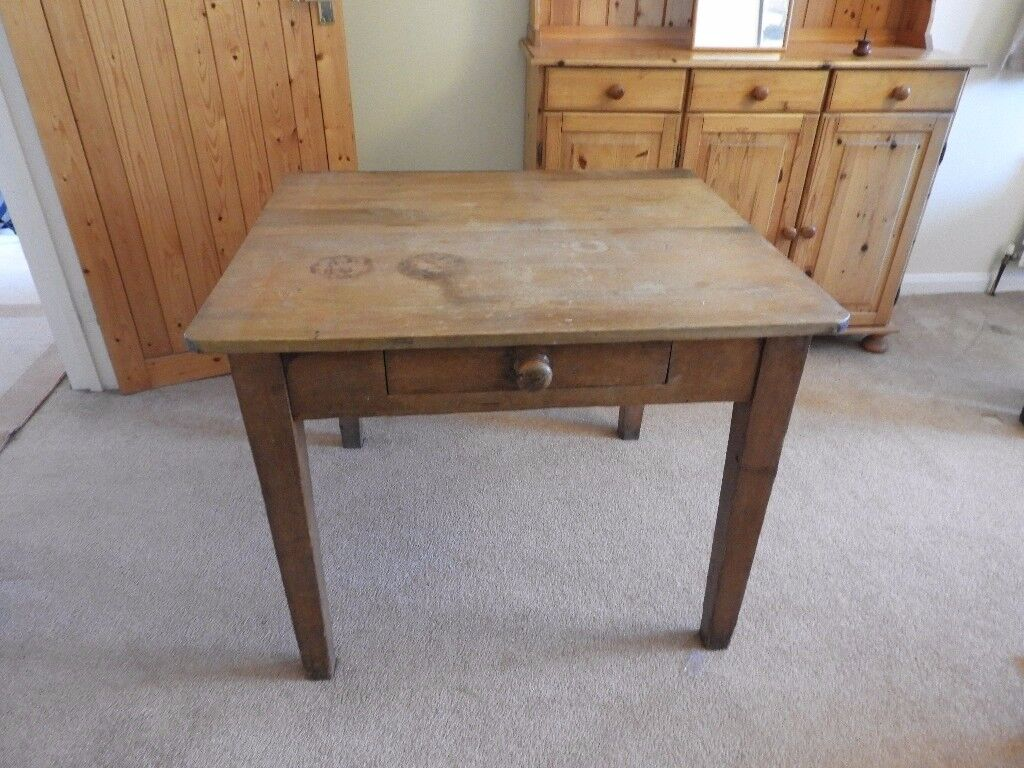 Vintage original pine table with drawer