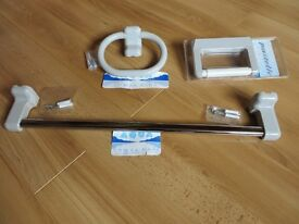 Bathroom set, New, Towel rail, Towel ring and Toilet Roll Holder.
