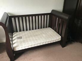 Boori sleigh Cotbed and Baby Changer Solid Oak