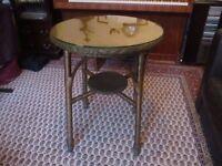 Lloyd Loom circular glass topped Table