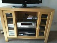 TV CABINET WITH 3 SHELVES & MULTI-CD STORAGE. HAND-MADE BY JOHN COYLE . COST £425