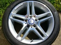 """17"""" GENUINE MERCEDES AMG C CLASS ALLOY WHEEL 6mm CONTINENTAL TYRE FULL SIZE SPARE W204"""