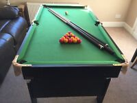 """Pool Table (60"""" x 32""""), including full set of pool and snooker balls plus 3 cues and chalk."""