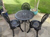 GARDEN FURNITURE SET - TABLE AND 3 CHAURS - CAST ALUMINIUM