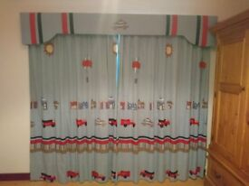 Childerns/boys Designer Bedeck curtains 90 by 90 with blackout lining and pelmet to match.