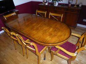 Antique Yew extending dining table and 6 chairs