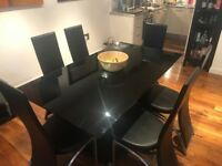 Black Gloss & Chrome Dining Table with 6 Dining Chairs