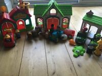 Happyland Bundle. Fire station, farm and safari