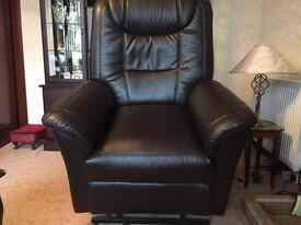 Riser/recliner brown leather seat