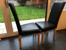 4 Real black Leather Dining chairs