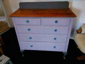 VINTAGE/RETRO SOLID OAK CHEST OF DRAWERS FULLY REFURBISHED