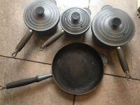 Le Creuset saucepan and frying pan set