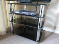 Black and chrome TV/DVD stand and display