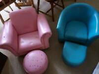 Two child's tub chairs