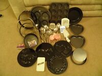 selection of baking tins and utensils