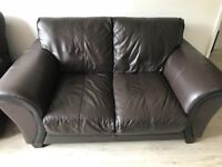 FREE leather sofa 2 seater and recliner chair (needs new spring on mechanism) both brown leather