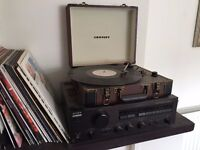 Crosley Executive CR6019A Turntable - Brown AND Receiver