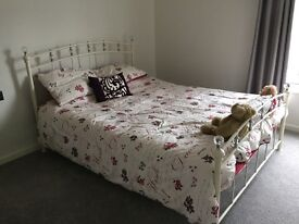 Metal framed king-size bed, soft off-white finish with chrome detailing and crystal effect finials