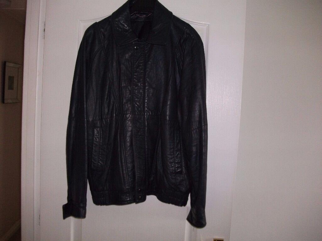 Navy Blue Marks and Spencer Mens Leather Jacket