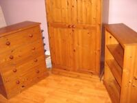 CREATIONS SOLID PINE WARDROBE + CHEST OF DRAWERS + BOOKCASE vgc £300 ono