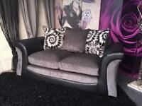 New 2 Seater Sofa In Fabric And Faux Snakeskin in Charcoal Grey and Blac