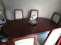 Mahogany table and 6 chairs