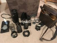 Tamron 80-210 zoom lens plus SLR camera/50mm lens, accessories