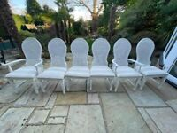 Six Shabby Chic dining chairs