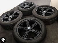"17"" GENUINE BMW 5 SERIES ALLOY WHEELS WITH TYRES - CRYSTAL BLACK"