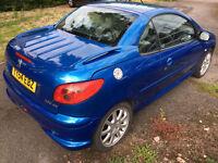 Peugeot 206cc Allure Blue 2004 2.0 Convertible petrol 88,545miles mot till dec 2017 £800