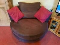 Brown sofa 2 seater chair swivels