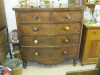 ANTIQUE LARGE BOW FRONTED CHEST OF 5 DRAWERS. VIEWING / DELIVERY AVAILABLE