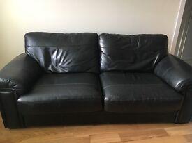 2 x 2 seater black leather sofa