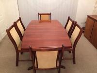 Rosewood Dining Room Table and 6 Chairs