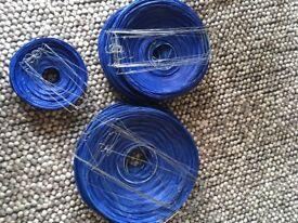 Navy blue, round paper party lanterns