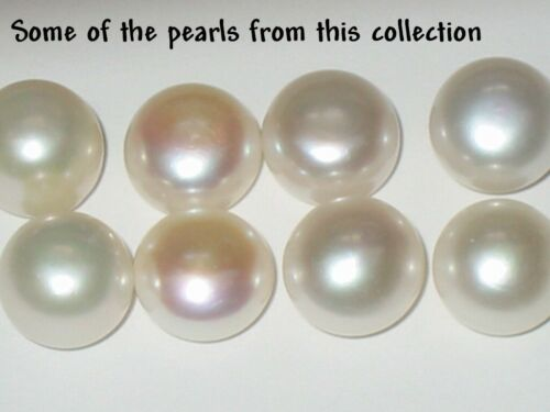 Pearl loose pieces lot white pink black 10mm 9mm 6mm half 1/2 drilled DIY