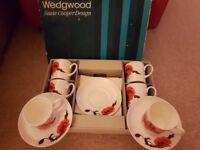 WEDGEWOOD SUSIE COOPER CORNPOPPY COFFEE SET IN ORIGINAL BOX